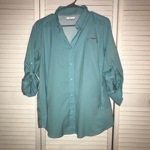 Light Blue Columbia Tamiami II Long Sleeve Shirt